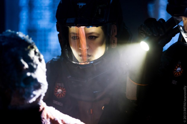Claire (Grace Huang) in a scene from INFINI, directed by Shane Abbess.